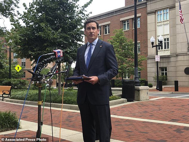 US Attorney for the Eastern District of Virginia, G. Zachary Terwilliger speaks on an MS-13 sex trafficking case at a press conference Wednesday outside the federal courthouse in Alexandria, Virginia