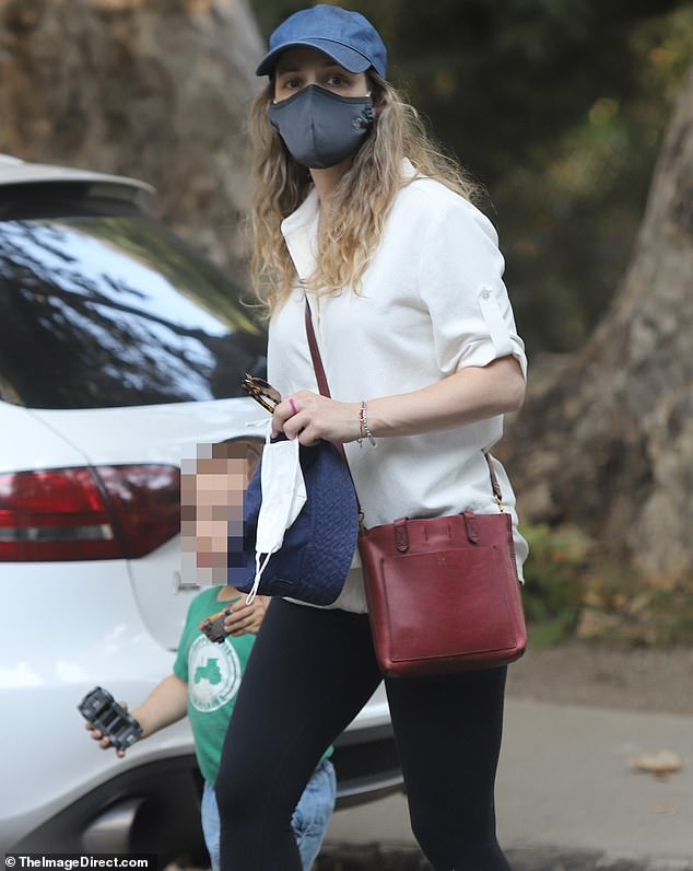 Careful: The 41-year-old Mean Girls icon made sure to keep her mask on while she stepped out amid the coronavirus pandemic
