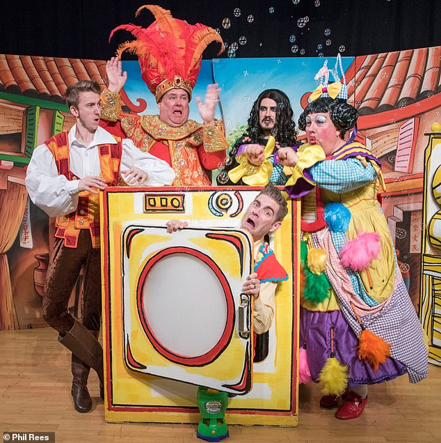A pantomime of Aladdin, pictured here at the Swansea Grand Theatre, was due to be staged at the Lyric Hammersmith Theatre and Queen