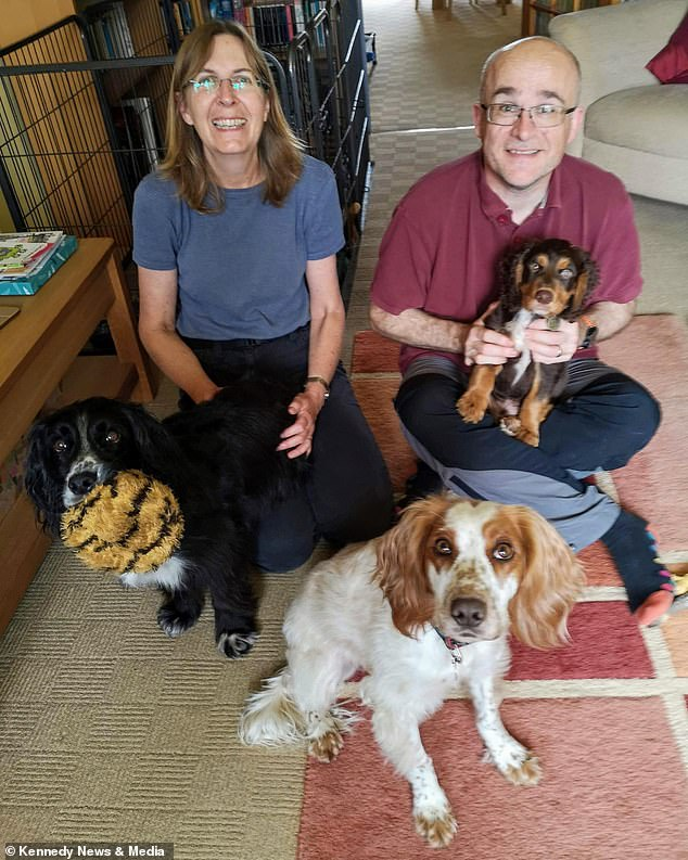 Alison and Peter have a third dog called Tesla (left), who is seven, but Alison said he is