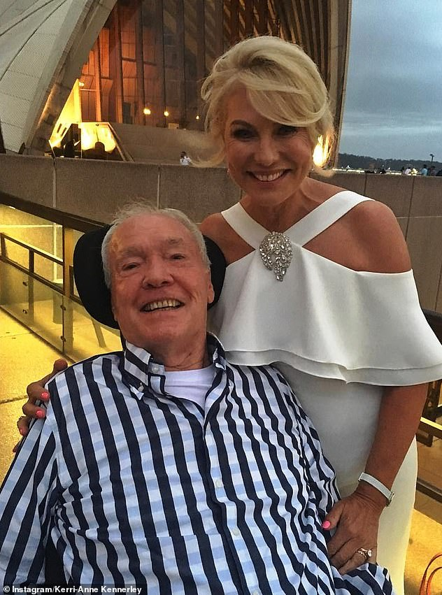 Tragic: John became paralysed from the neck down in March 2016, when he slipped off a balcony at a Coffs Harbour golf resort. The retired mathematician spent his final three years unable to move, feed himself or speak, and Kerri-Anne became his primary carer