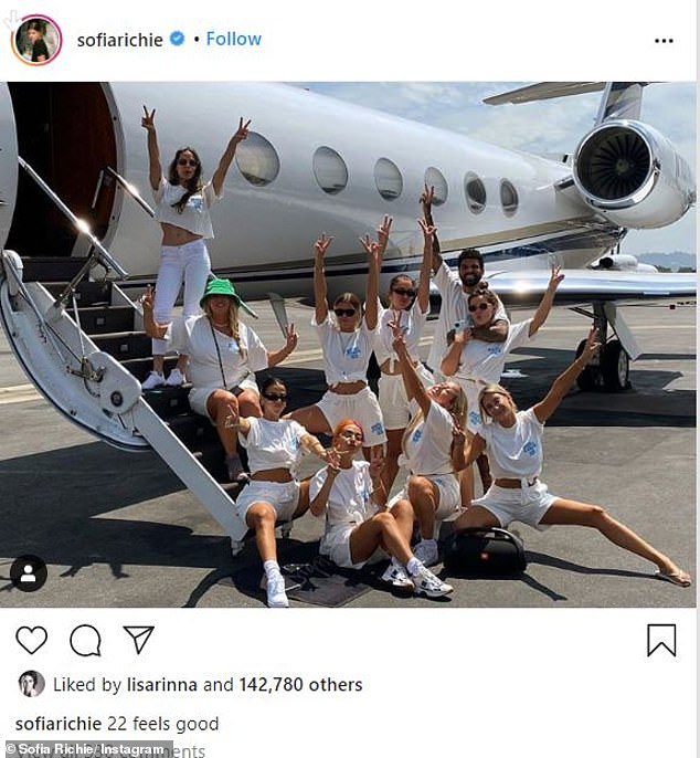 22 feels good: Sofia Richie got a head start on her birthday festivities by boarding a private jet with her mom Diane, brother Miles, and a slew of her closest friends on Sunday