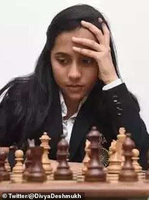 Divya (pictured) was soaring ahead of Russian Polina Shuvalova when her connection dropped