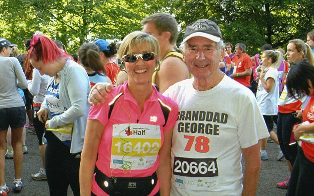 George will tackle the Royal Parks Foundation Half Marathon later this year, he and his daughter Helen previously ran it in his 78th year, pictured on the start line