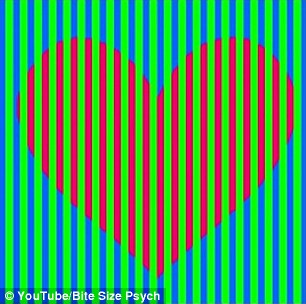 These two hearts in the image appear to be totally different colours. One seems purple while the other is a bright orangey red