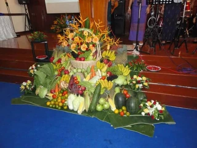 First fruit offering at the altar