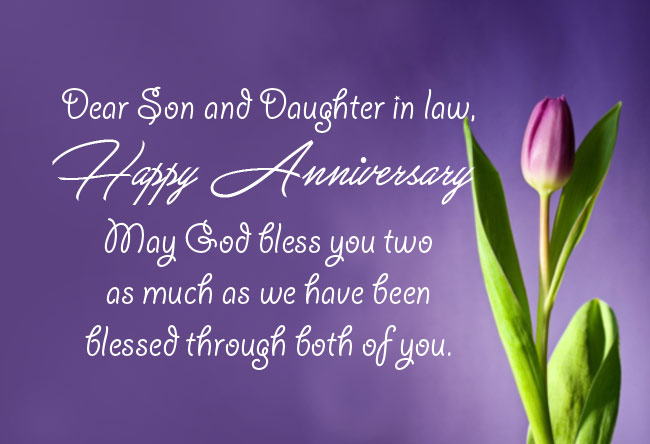 Religious Anniversary Messages for Son and Daughter in Law